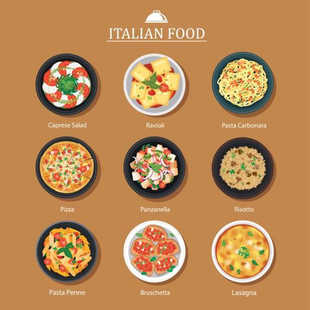 illustrations, cliparts, dessins animés et icônes de ensemble de design plat de cuisine italienne. fond d'illustration vectorielle. - risotto