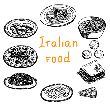 Set of Italian food, vector illustration, gnocchi, pasta, minestrone, arancini, lasagna, Frittata, pizza, risotto, ravioli, sketch
