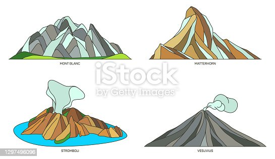 istock Set of Italy landmarks or travel nature landscapes 1297496096