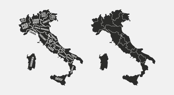illustrazioni stock, clip art, cartoni animati e icone di tendenza di mappe dell'insieme d'italia. mappa poster dell'italia con nomi di regioni. mappa dell'italia vuota. mappa dell'italia. illustrazione vettoriale - sardegna