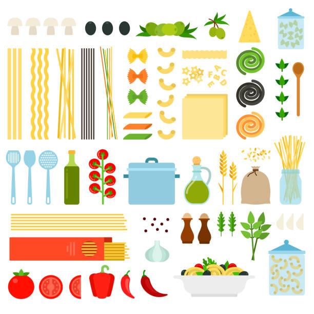 ilustrações de stock, clip art, desenhos animados e ícones de set of italy pasta icons flat vector - mediterranean food