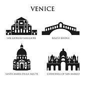 Set of Italy symbols, landmarks in black and white. Vector illustration. Venice, Italy. Santa Maria della Salute. Rialto Bridge, Cathedral of San Marco, San Giorgio Maggiore. Set for you design