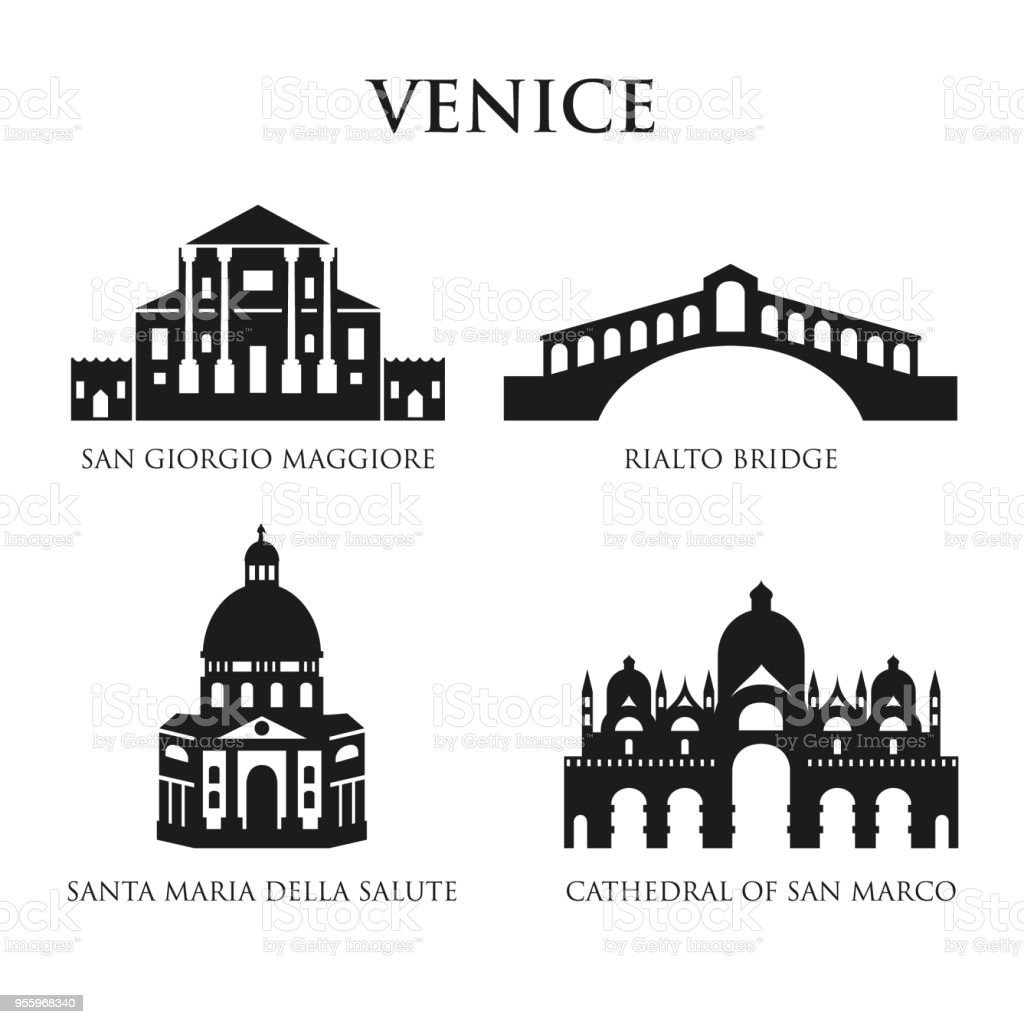 Set of Italy symbols, landmarks in black and white. Vector illustration. Venice, Italy. vector art illustration