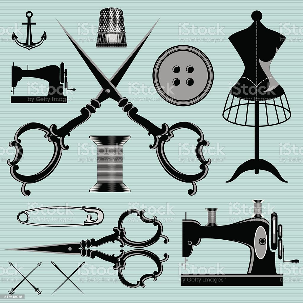 set of items and equipment to topics tailor, clothing, repair vector art illustration