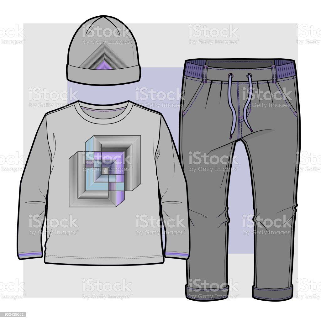 Set of items for a toddler boy vector art illustration