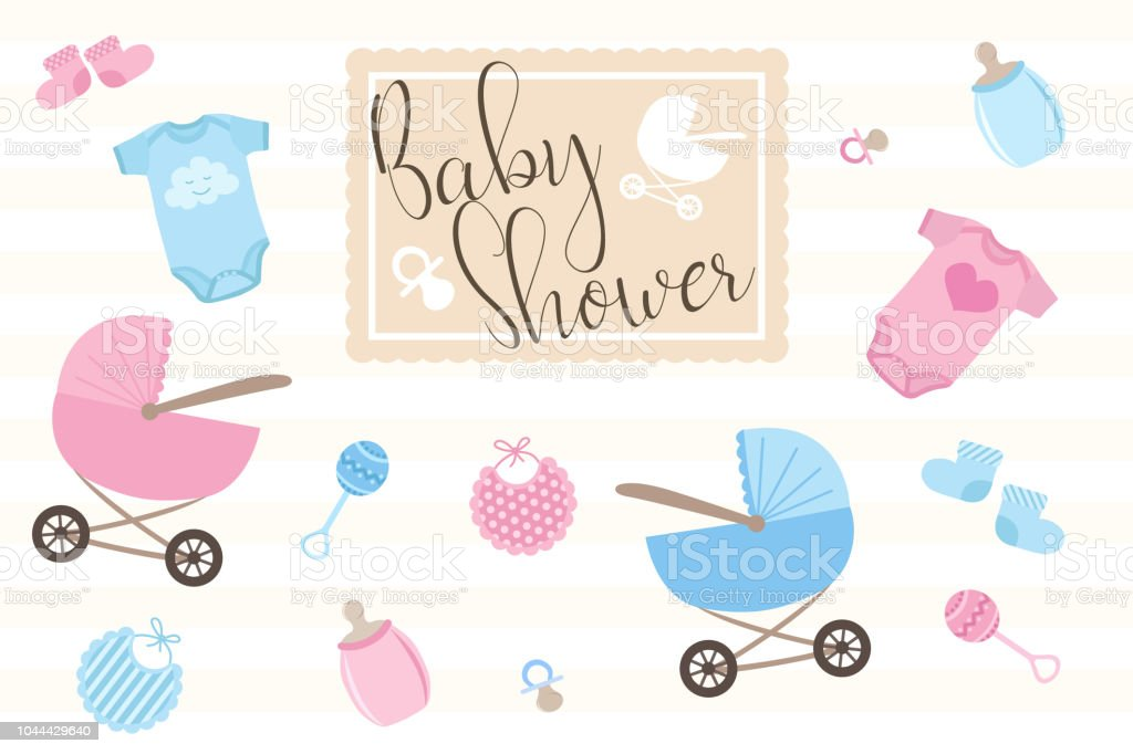 Set Of Items For Birthday Cards For Newborns Illustration For Boys