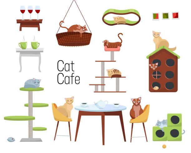 set von gegenständen für katzencafé von verschiedenen katzen und möbeln - katzenhäuser und tische mit tassen kaffee auf weißem hintergrund. katzen sitzen am tisch und trinken tee. flache cartoon-stil vektor-illustration - leinensofa stock-grafiken, -clipart, -cartoons und -symbole