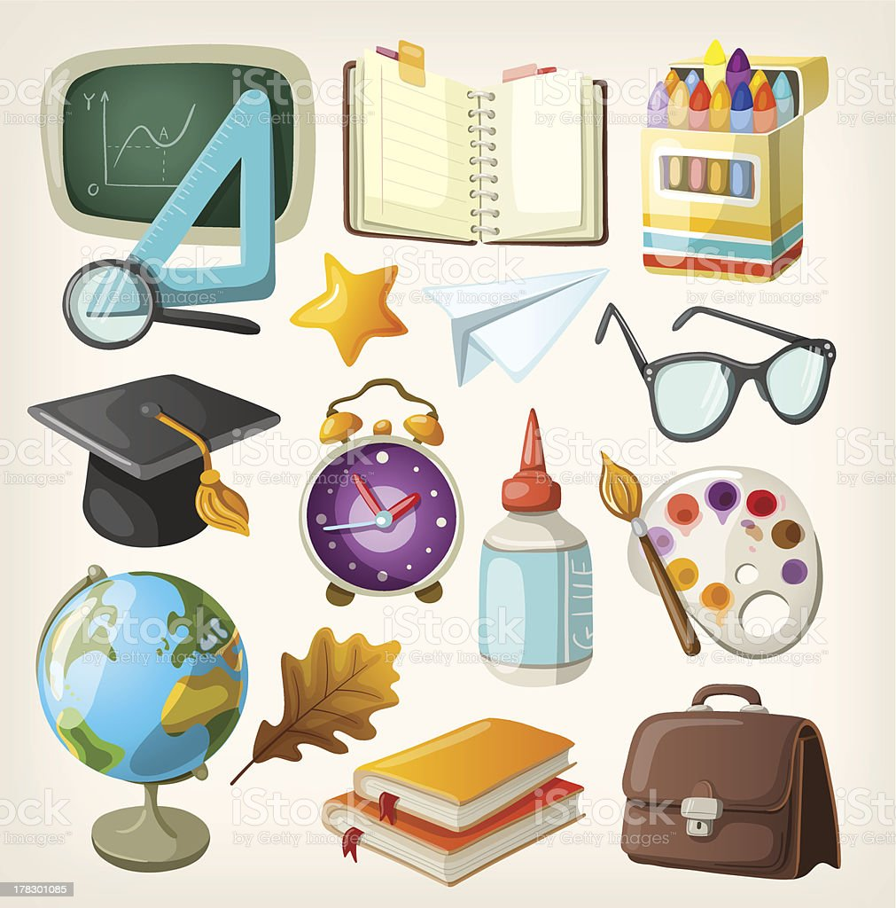 Set of items for education. Back to school royalty-free stock vector art