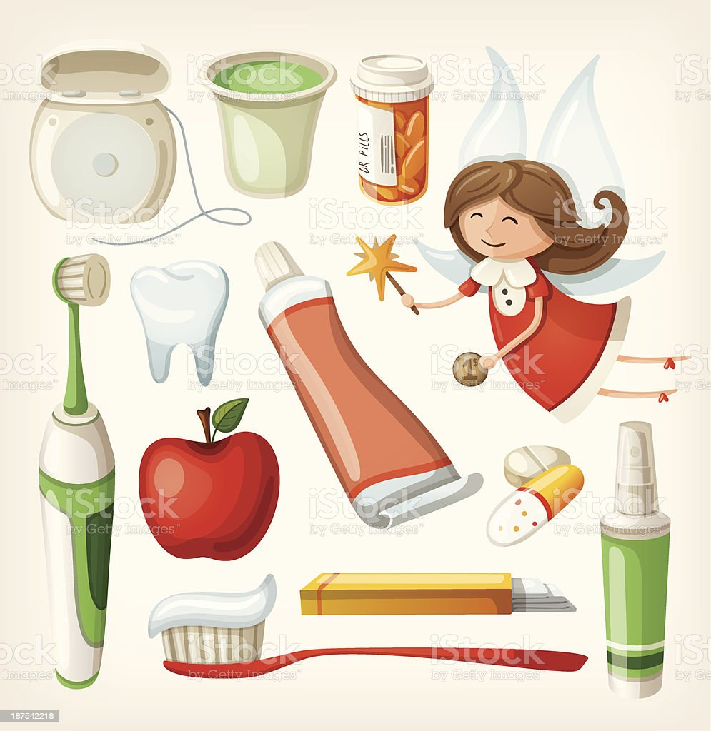 Set of items for keeping your teeth healthy vector art illustration