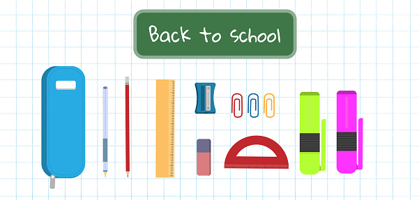 A set of items for school, school stationery, flat vector illustration