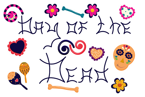 A set of items for the national Mexican holiday and carnival - Day of the dead. Vector illustration in flat style. Skull and inscription in the Mexican colors of the crossbones, hearts and maracas..