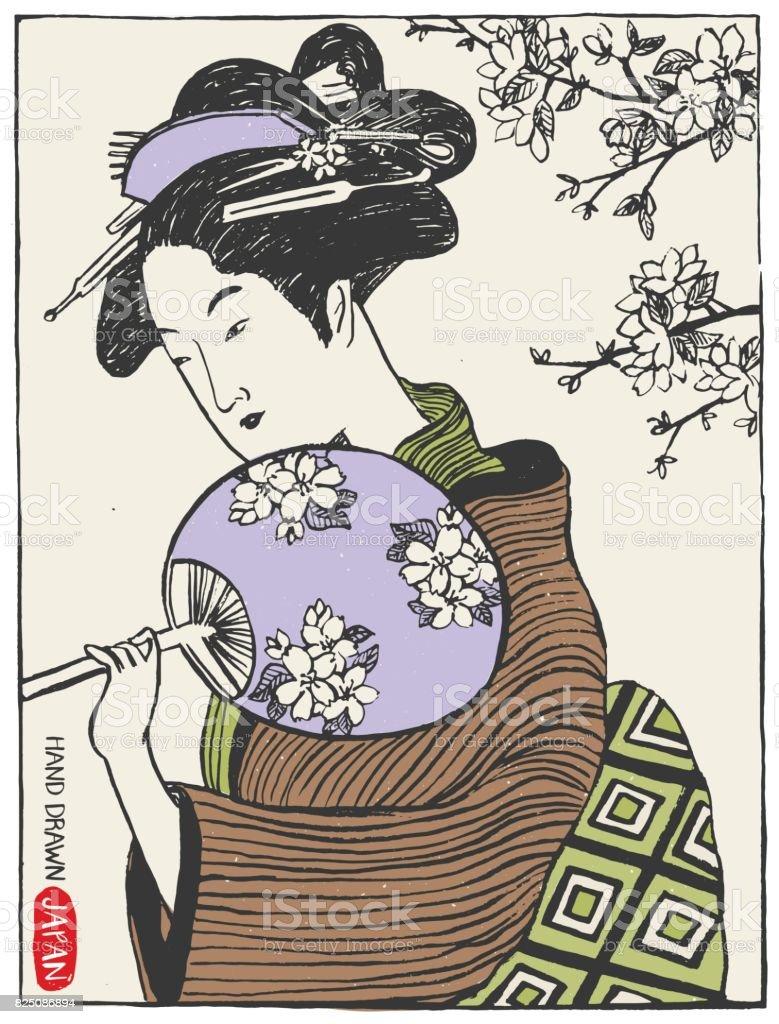Japonya Tasarım öğeleri Kümesi Geyşa Kadın Japon Kız Illüstrasyon El