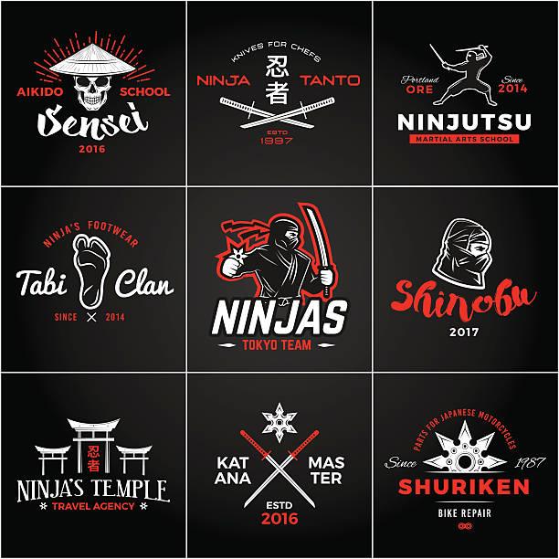 Insigne ensemble de Japon Ninjas. Mascotte Ninja Insigne Vintage - Illustration vectorielle