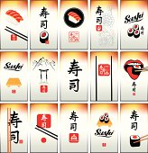 set of business cards on Japanese cuisine and sushi