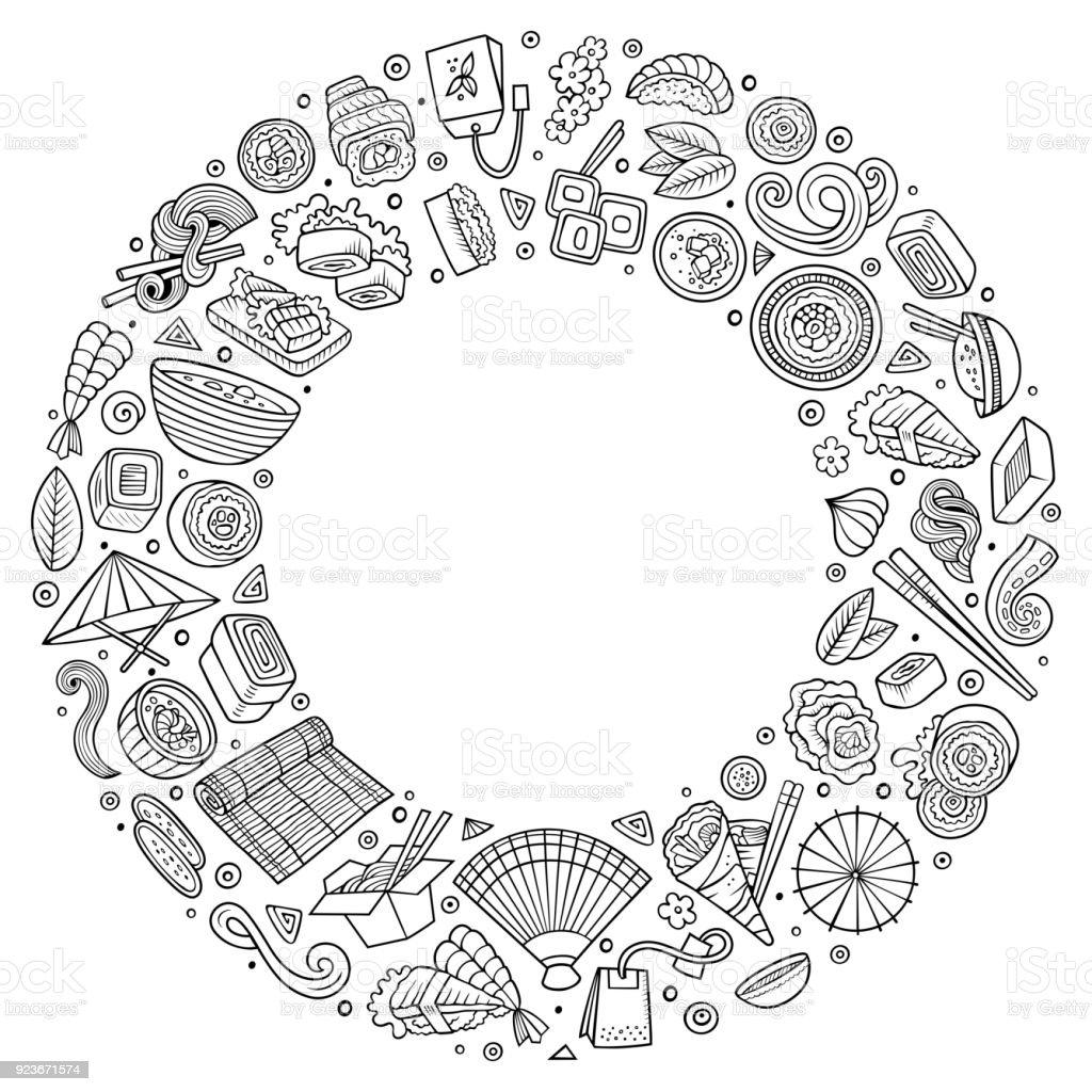 Série de dessin animé japonais des aliments doodle objets, symboles et éléments - Illustration vectorielle