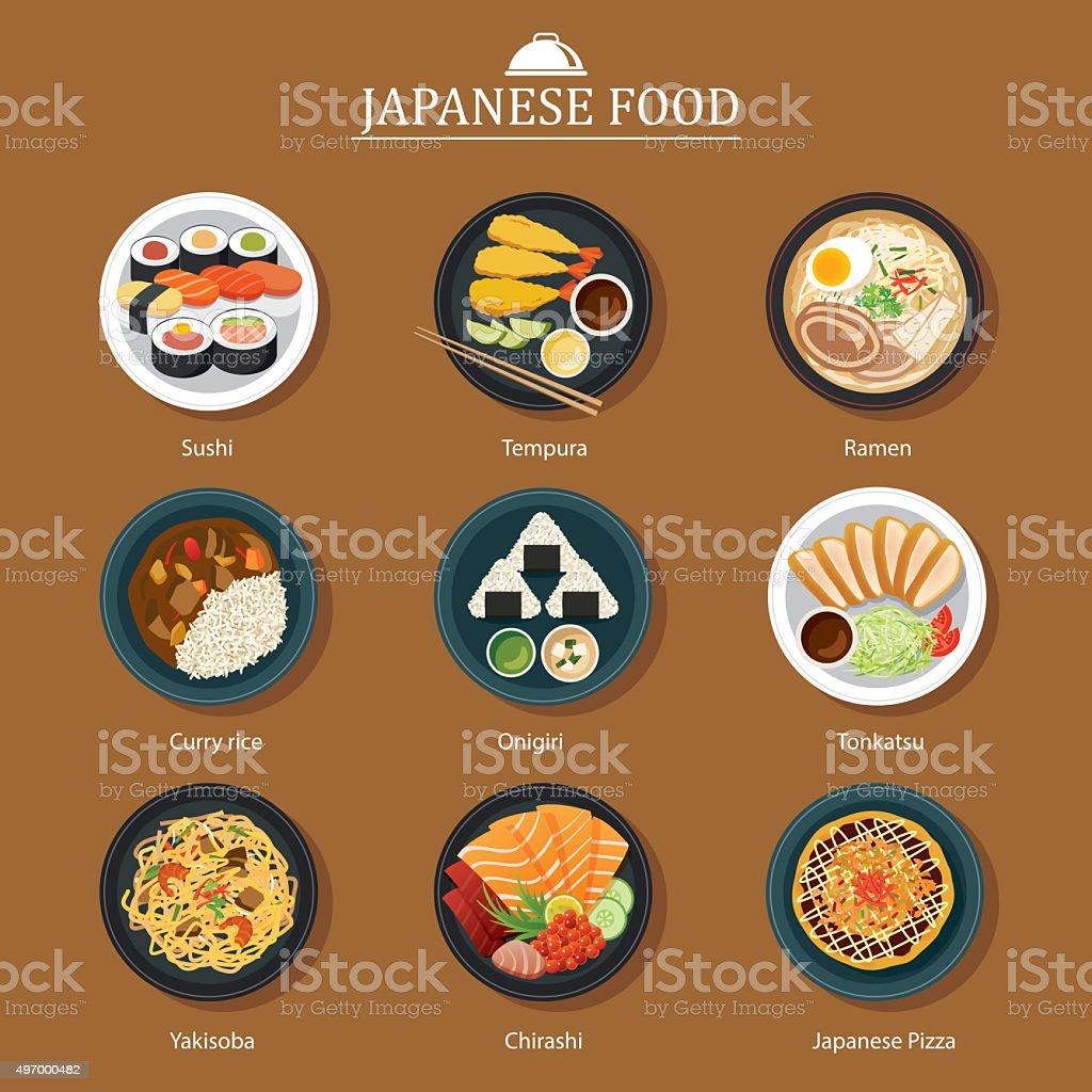 set of japanese food flat design vector art illustration