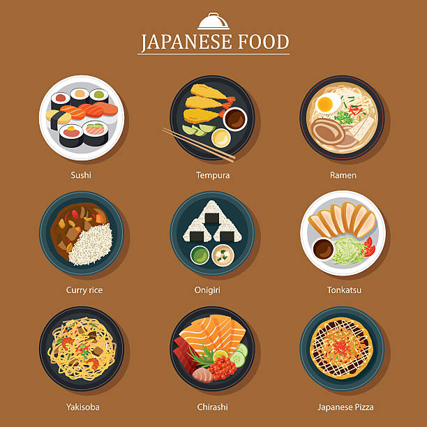 set of japanese food flat design - japanese food stock illustrations