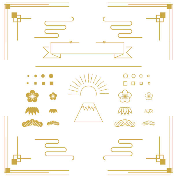 set of Japanese items with an art deco taste. vector art illustration