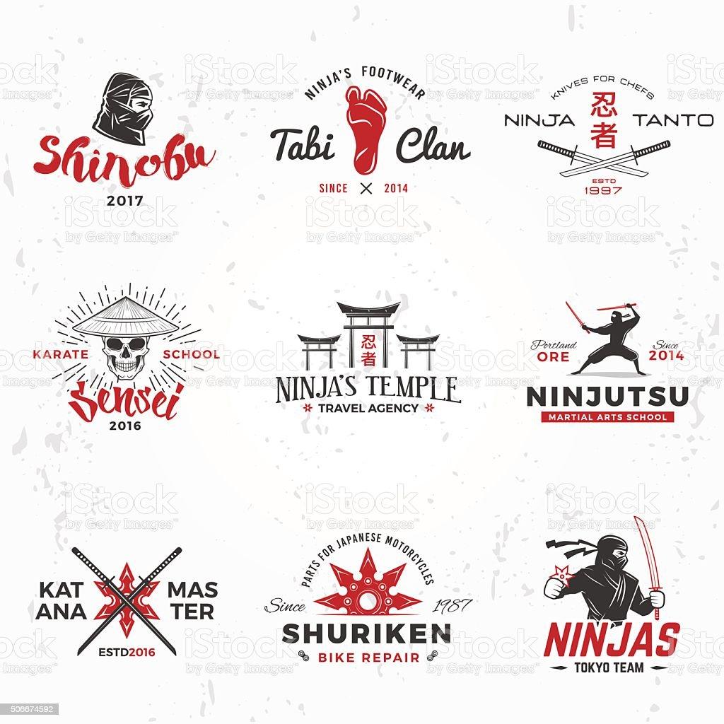Set of Japanese Ninjas vector. Katana master insignia design. Vintage vector art illustration