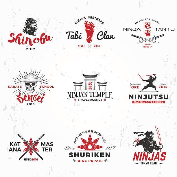 set of japanese ninjas vector. katana master insignia design. vintage - karate stock illustrations, clip art, cartoons, & icons