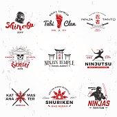 Set of Japanese Ninjas vector. Katana master insignia design. Vintage