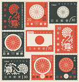 Vector set of old postage stamps on the theme of Japanese culture with chrysanthemum and Nippon flag in retro style. Hieroglyph Japan Post, Happiness