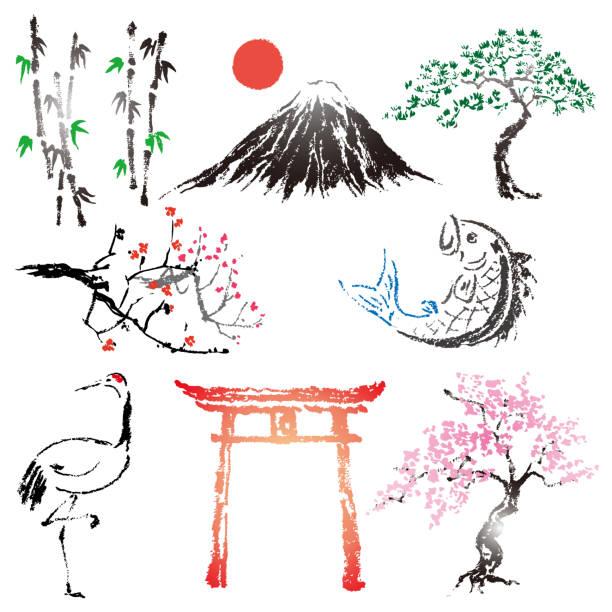 satz von japanischen stil-bürsten-design-elemente und tinte symbol - kranich stock-grafiken, -clipart, -cartoons und -symbole