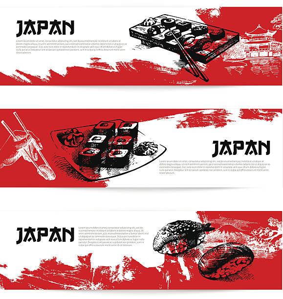 set of japanese sushi banners - sushi stock illustrations