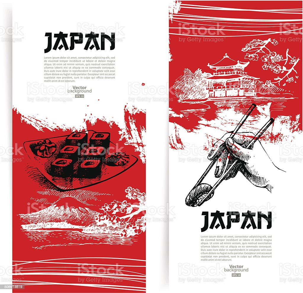 Set of Japanese sushi banners vector art illustration
