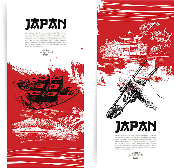 set of japanese sushi banners - japanese food stock illustrations