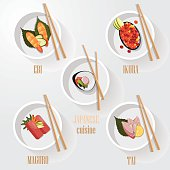set of japanese sushi icons- tai, maguro, ikura, ebi, salmon
