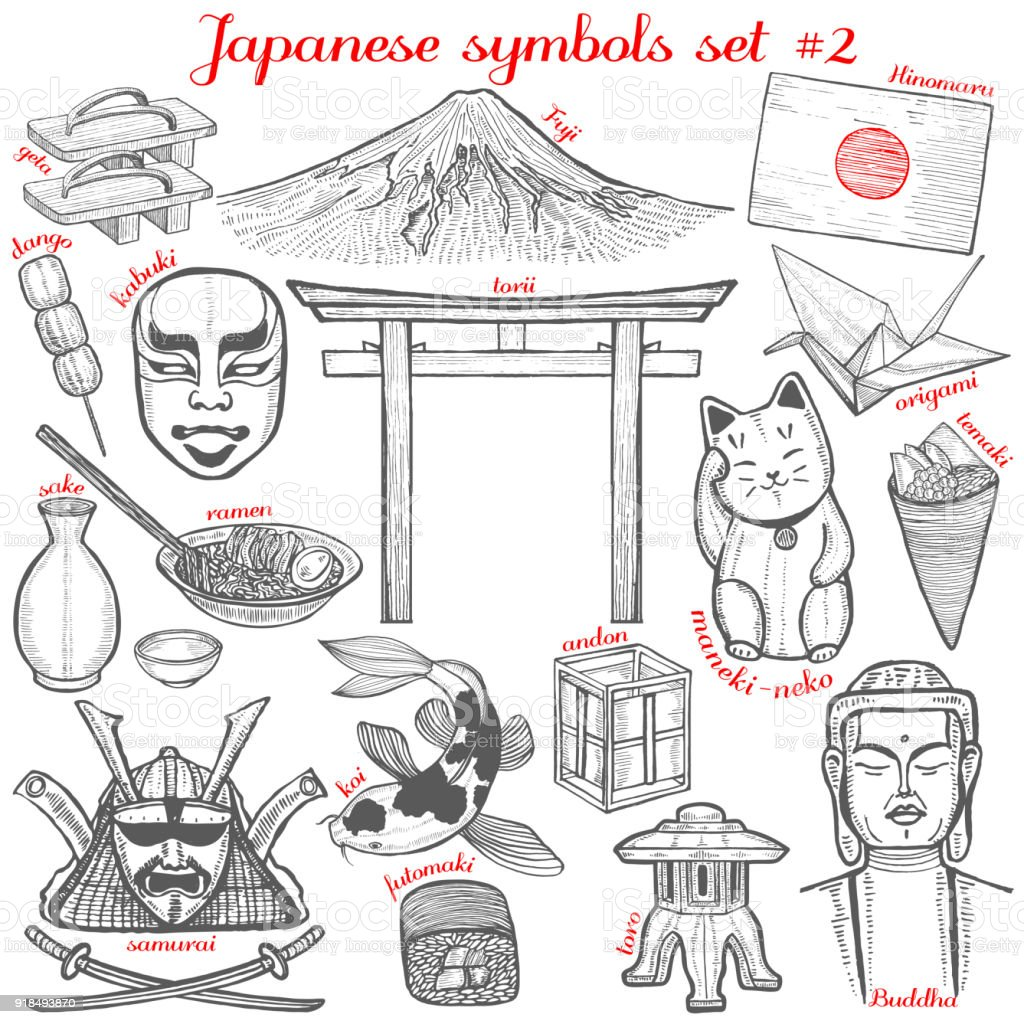 Set Of Japanese Symbol In Hand Drawn Style Stock Vector Art More