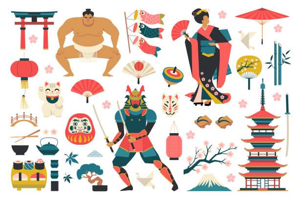 bildbanksillustrationer, clip art samt tecknat material och ikoner med uppsättning av japanska traditionella objekt ikoner. - japanskt ursprung