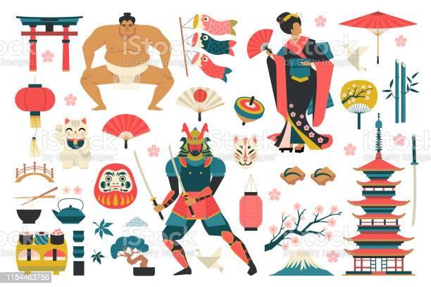 日本の伝統的なオブジェクトのアイコンのセット - お土産のベクターアート素材や画像を多数ご用意