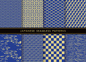 Set of Japanese traditional, seamless patterns, vector illustration. All these patterns are both horizontally and vertically repeatable.