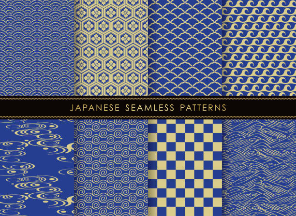 Set of Japanese traditional, seamless patterns. Set of Japanese traditional, seamless patterns, vector illustration. All these patterns are both horizontally and vertically repeatable. japanese culture stock illustrations