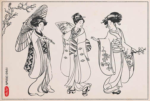Set of Japanese women in kimono. Hand drawn vector illustration.
