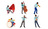 Set of isolated hand drawn jazz band with black and white women and men musicians playing instruments over white background vector illustration. Modern jazzmen concept