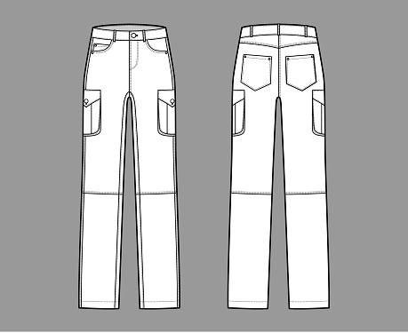 Set of Jeans cargo Denim pants technical fashion illustration with low waist, rise, pockets, belt loops, full lengths