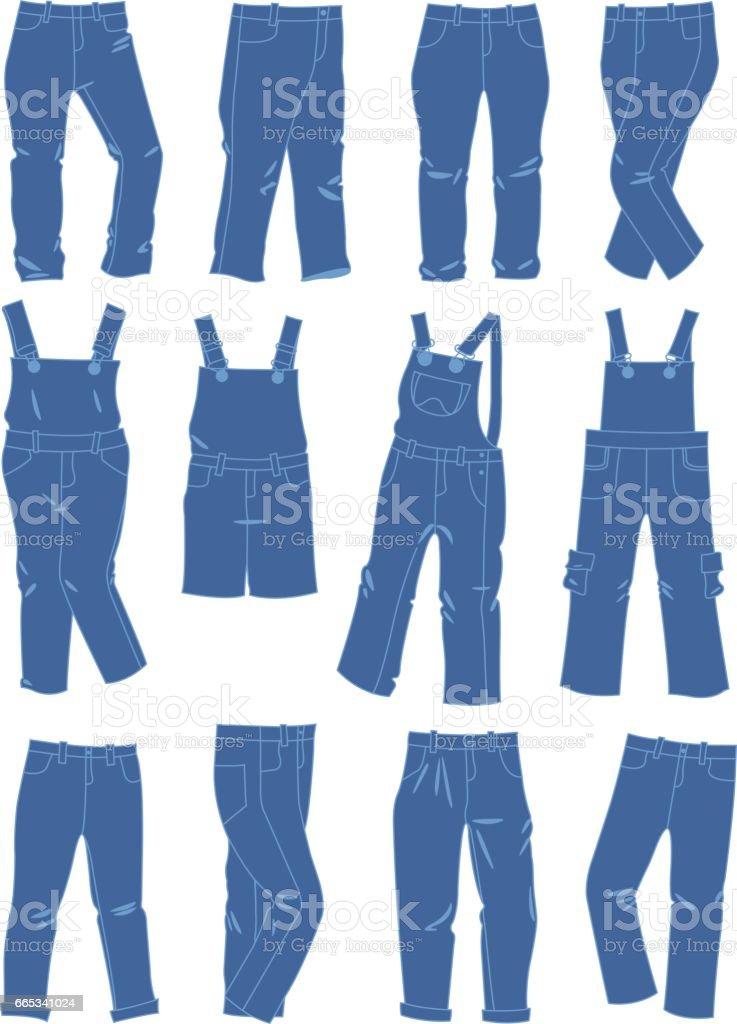 A set of jeans for little girls isolated on white background vector art illustration