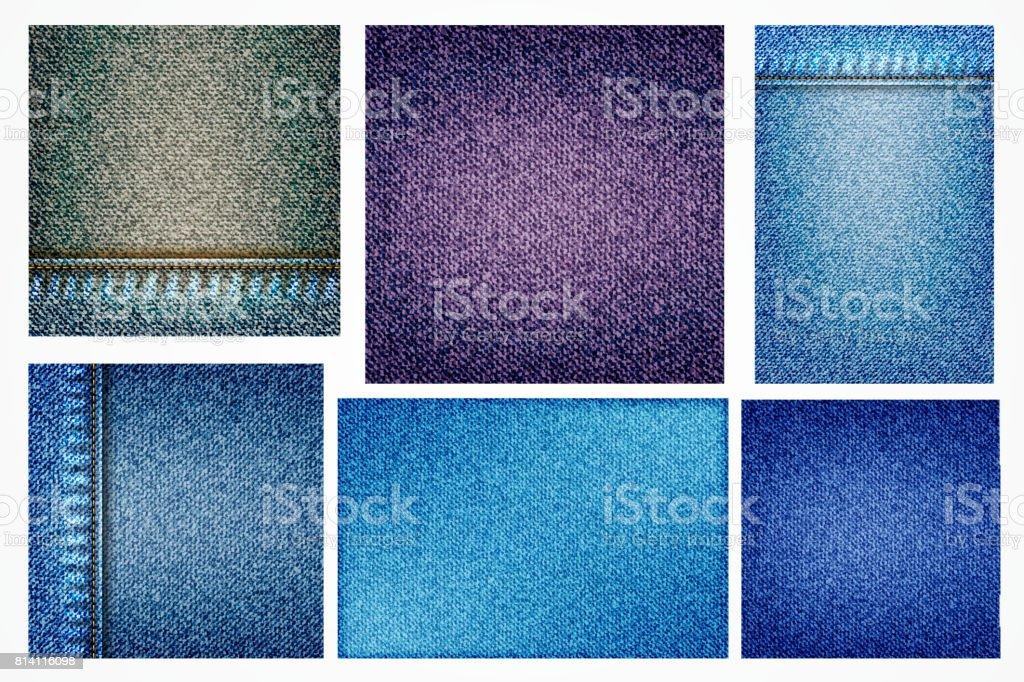 625d6d9f Conjunto de fundo de jeans de ilustrações, azul jeans com bolso ou textura  border elemento