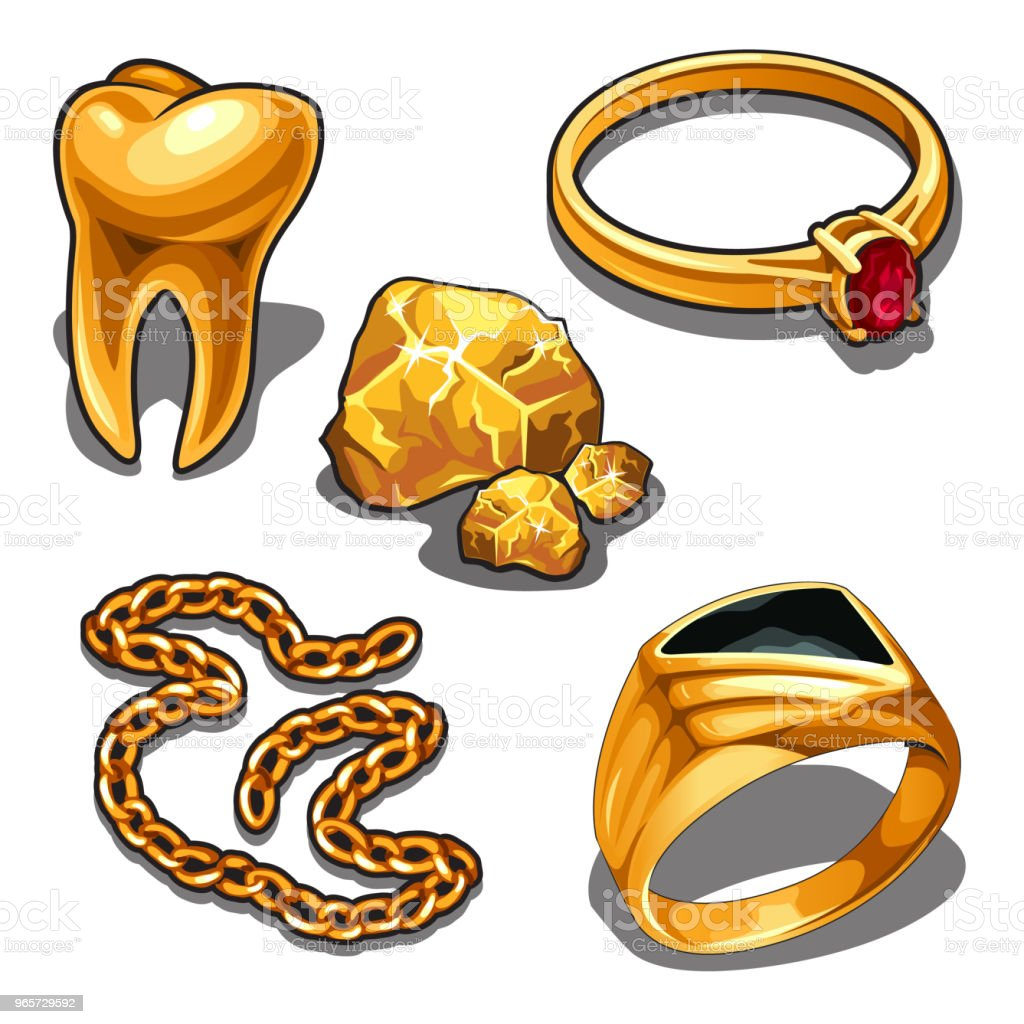 A set of jewelry and dentistry objects made of gold isolated on a white background. Vector illustration - Royalty-free Antique stock vector
