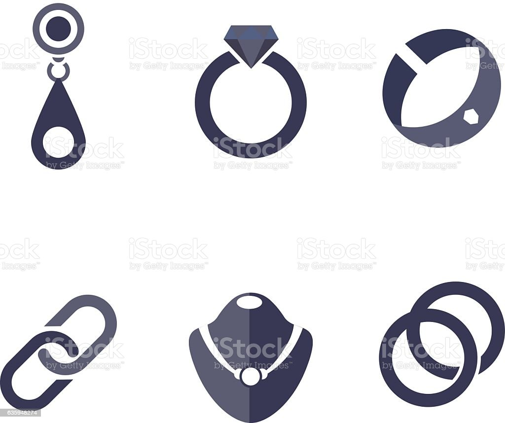 Set of jewelry icons in vector - arte vettoriale royalty-free di Accessorio personale
