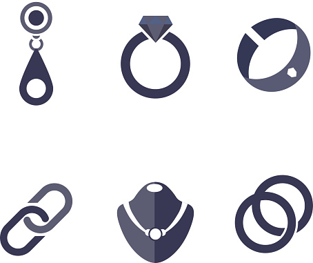 Set Of Jewelry Icons In Vector - Immagini vettoriali stock e altre immagini di Accessorio personale