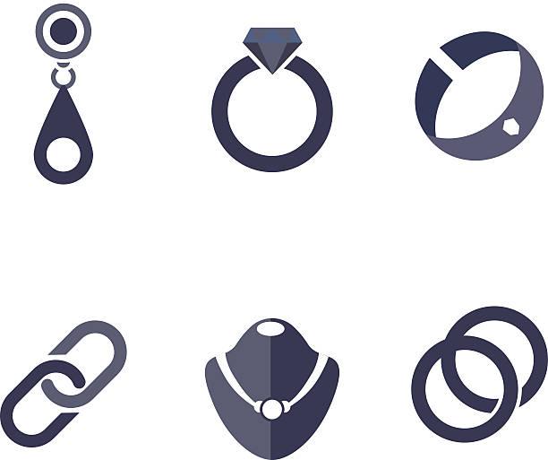 illustrazioni stock, clip art, cartoni animati e icone di tendenza di set of jewelry icons in vector - earring ring