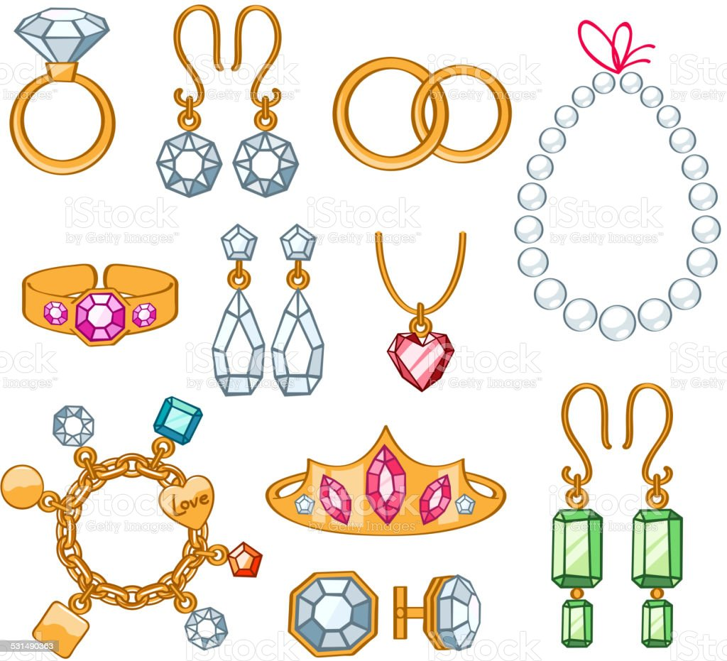 Set of jewelry items. vector art illustration