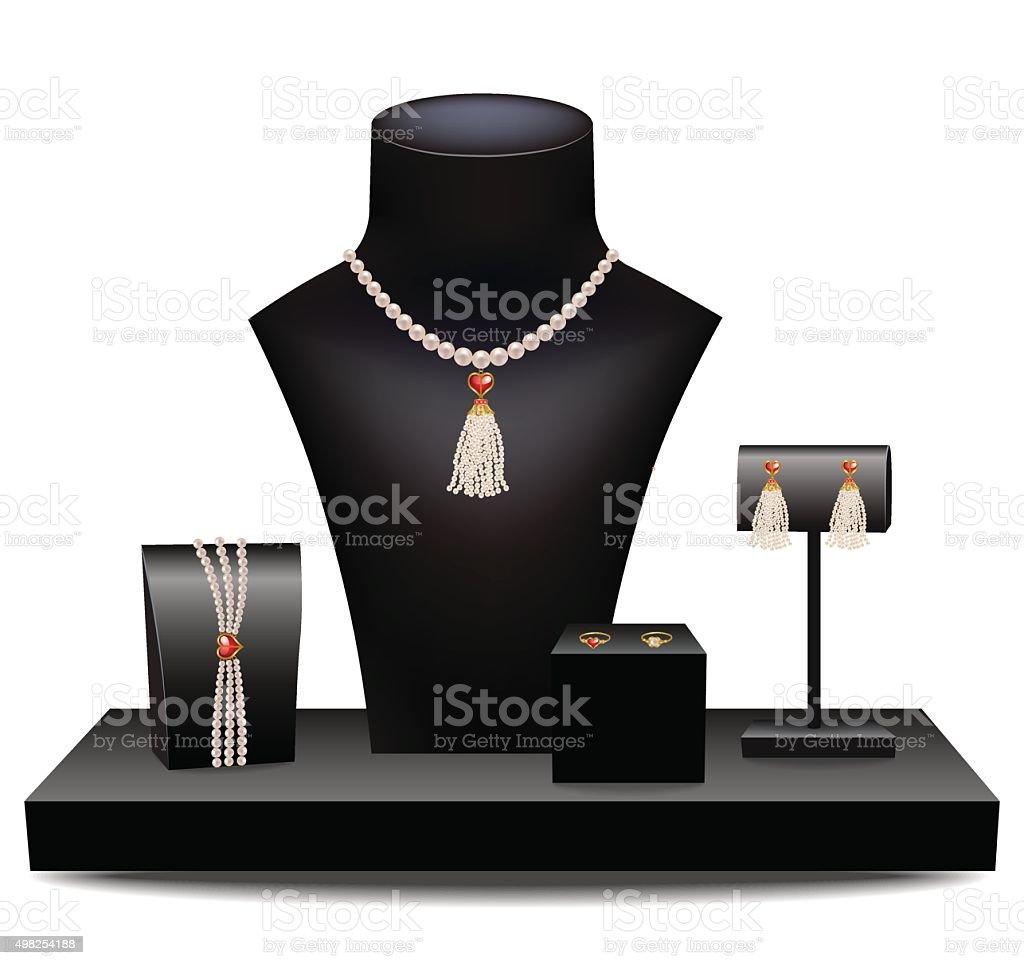 Set of jewelry on dummies vector art illustration