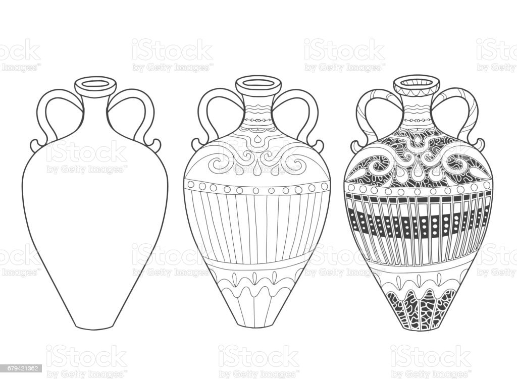 Set of jugs with doodle ornament for adult coloring book. set of jugs with doodle ornament for adult coloring book - arte vetorial de stock e mais imagens de branco royalty-free