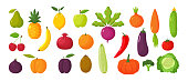 Vector set of juicy fruits and vegetables in cartoon style . Healthy lifestyle, vegetarianism