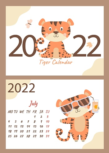 set of July 2022 calendar and cover. Cute tiger cub in sunglasses with citrus cocktail. Vector. A4 horizontal template. Week starts on Monday. Year of the Tiger in Chinese or oriental